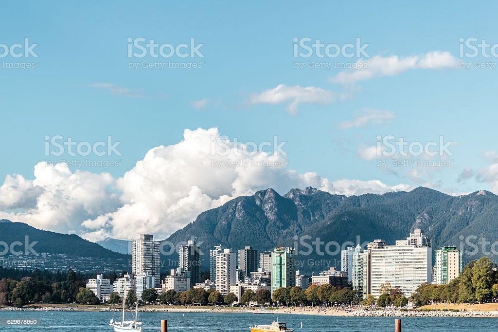 English Bay view from Kitsilano Beach in Vancouver, Canada stock photo
