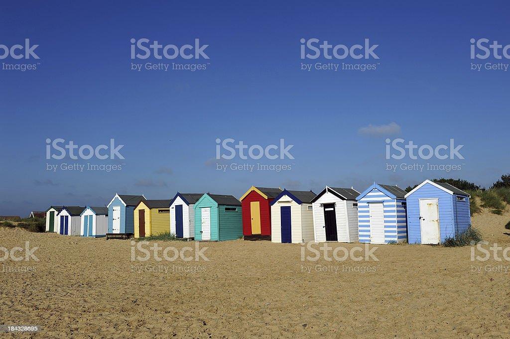 English Beach Huts royalty-free stock photo