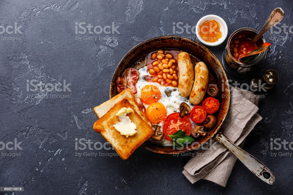 English Breakfast in cooking pan stock photo