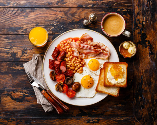 english breakfast - breakfast stock photos and pictures