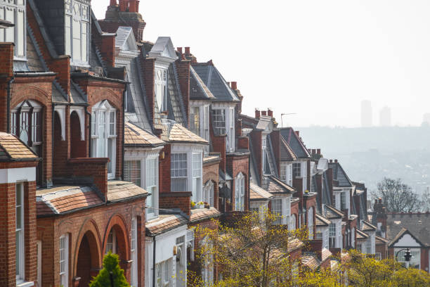 English brick terrace houses on Muswell Hill, London stock photo