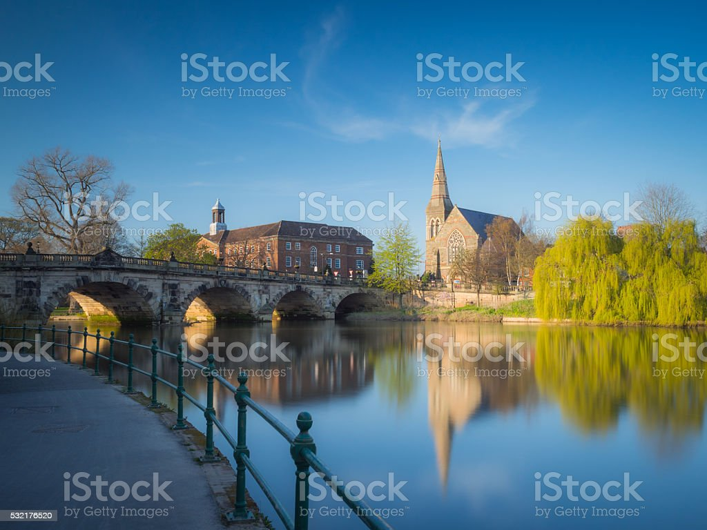 English Bridge, Shrewsbury, Shropshire stock photo