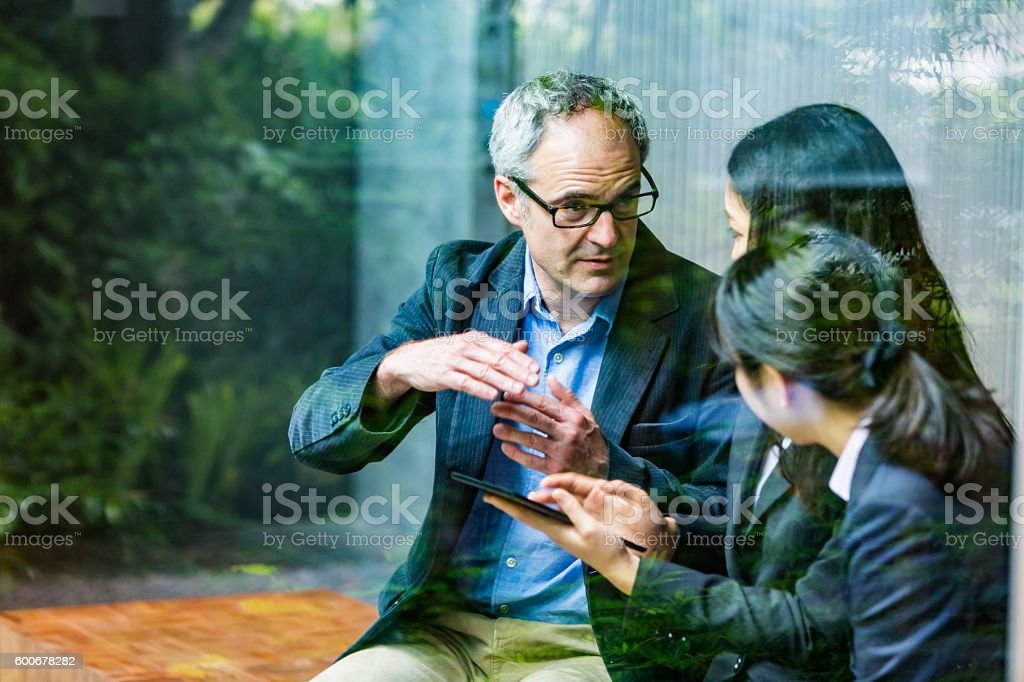 English Businessman Working Advising Japanese Corporate Professional Business Women stock photo