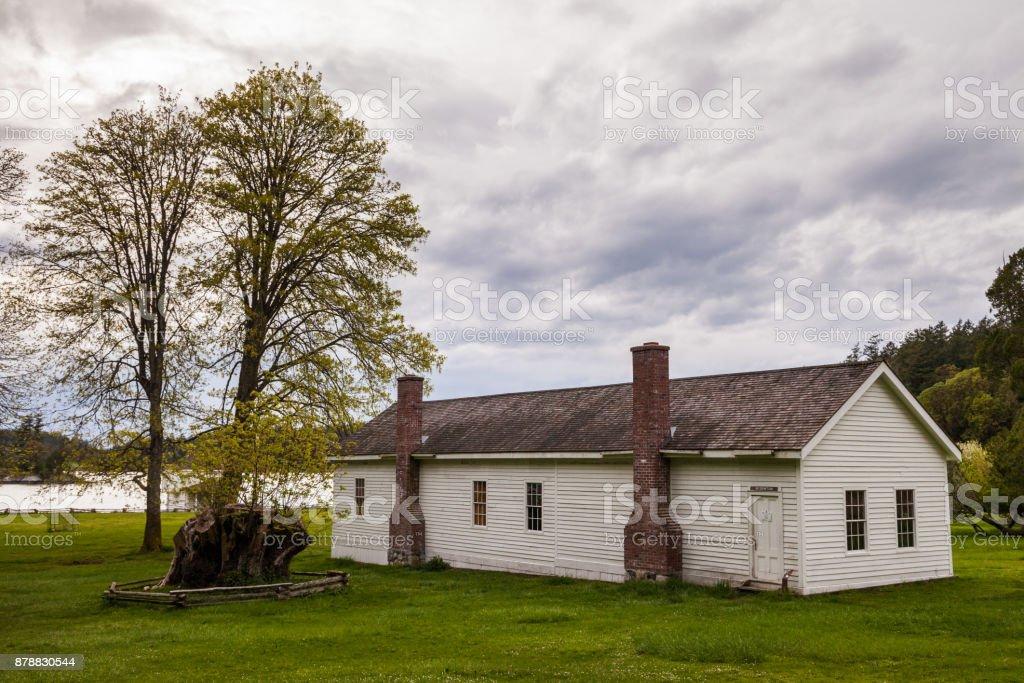 English Camp, Garrison Bay, San Juan Island National Historic Pa stock photo