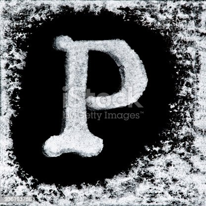 istock English capital letter 'P' printed white ink stamp isolated on black background. Cut out. 936193786
