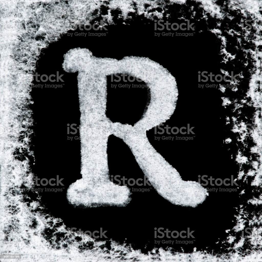 English Capital Letter Q Printed White Ink Stamp Isolated On Black