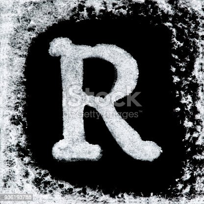 istock English capital letter 'Q' printed white ink stamp isolated on black background. Cut out. 936193788