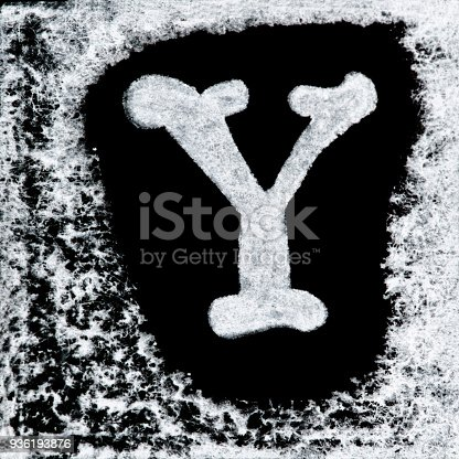 istock English capital letter 'Y' printed white ink stamp isolated on black background. Cut out. 936193876