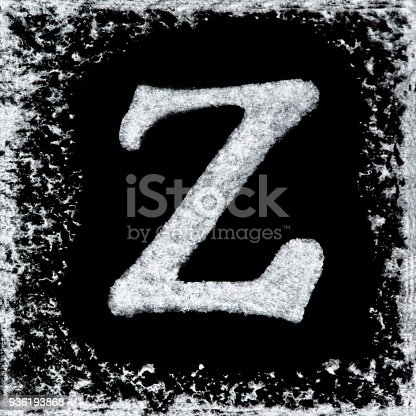 istock English capital letter 'Z' printed white ink stamp isolated on black background. Cut out. 936193868