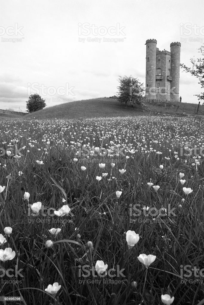 english castle black and white royalty-free stock photo