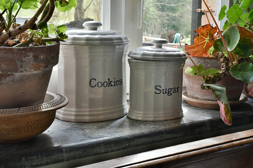English ceramic containers for sugar and cookies