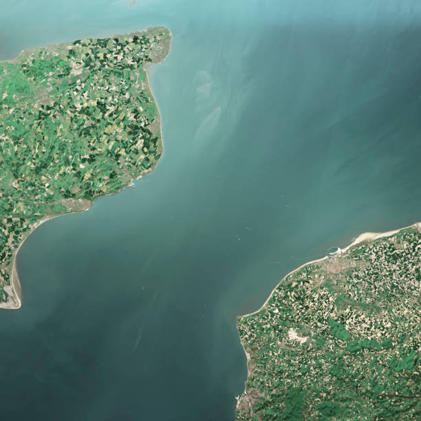 english channel 3d render aerial top view may 2019 - english channel stock pictures, royalty-free photos & images