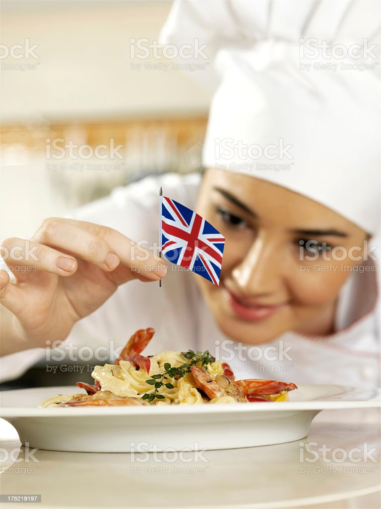 English Chef Completing Pasta royalty-free stock photo