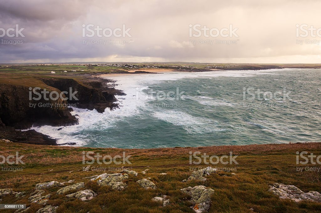 English coast in Cornwall stock photo
