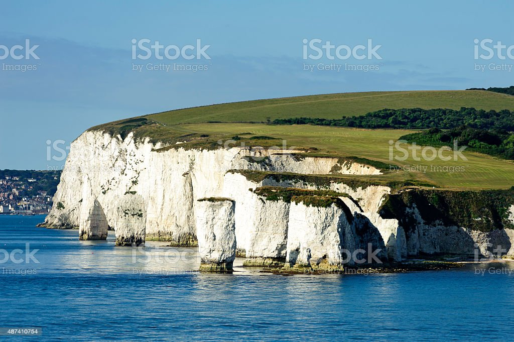 english coastline with chalk cliffs seen from a boat stock photo