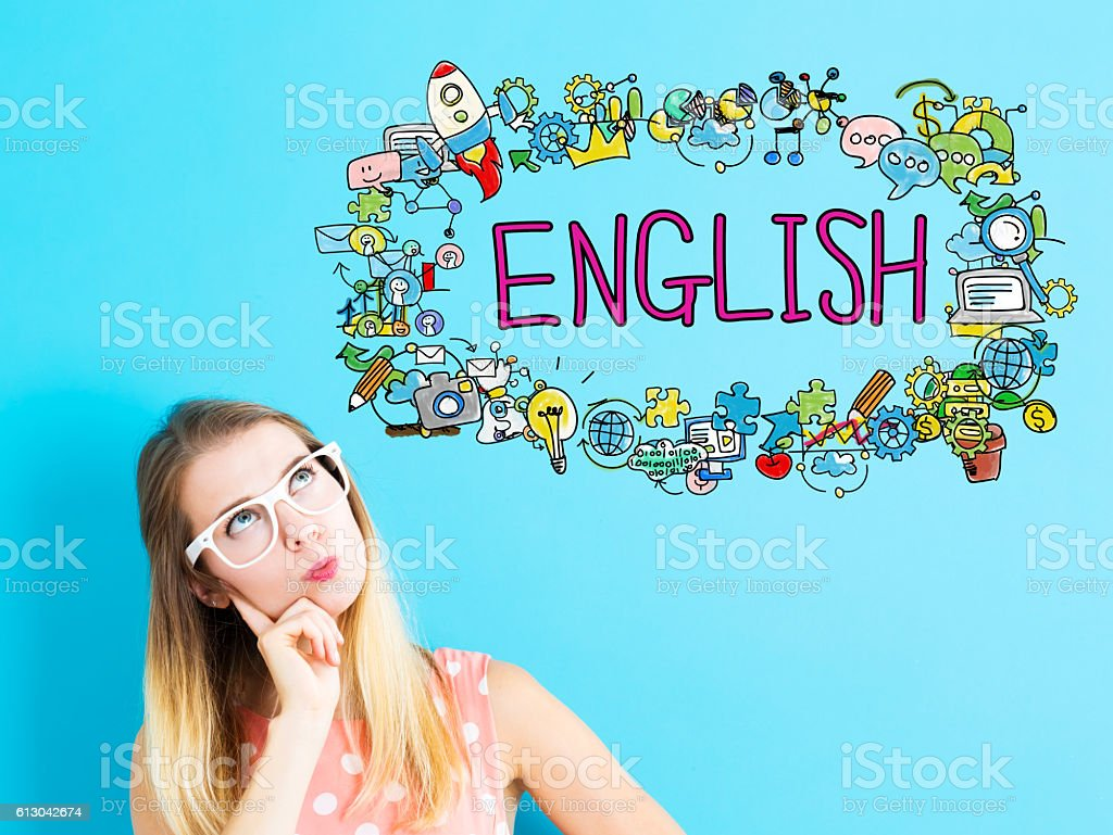 English concept with young woman – Foto
