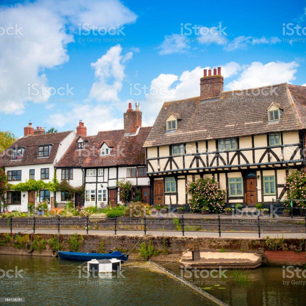 HDR English cottages, riverside setting, Tewkesbury, Gloucestershire, UK royalty-free stock photo
