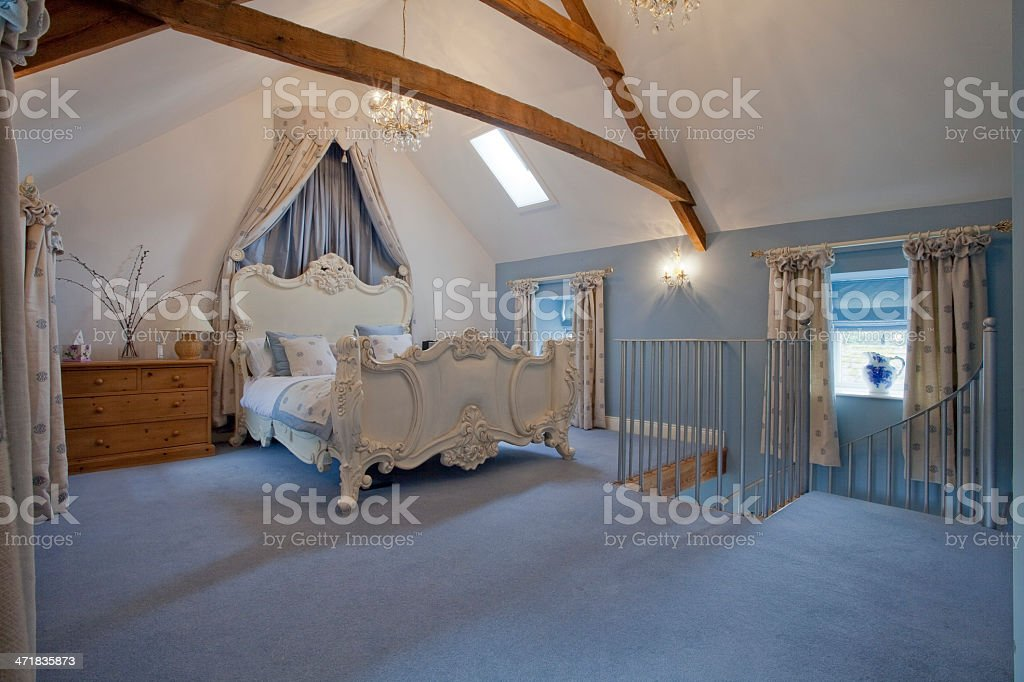 English Country Style Blue Bedroom With French Louis Xv Bed ...
