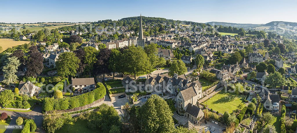 English country village idyllic rural homes aerial photo stock photo