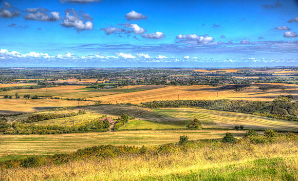 English countryside Chiltern Hills Buckinghamshire England UK in colourful HDR English countryside from Ivinghoe Beacon Chiltern Hills Buckinghamshire England UK in colourful HDR buckinghamshire stock pictures, royalty-free photos & images