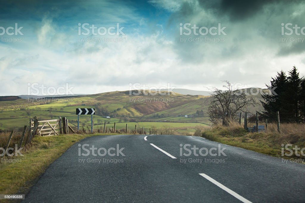 English Countryside Road - Right Deviation stock photo