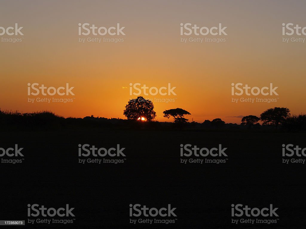 English countryside sunset royalty-free stock photo