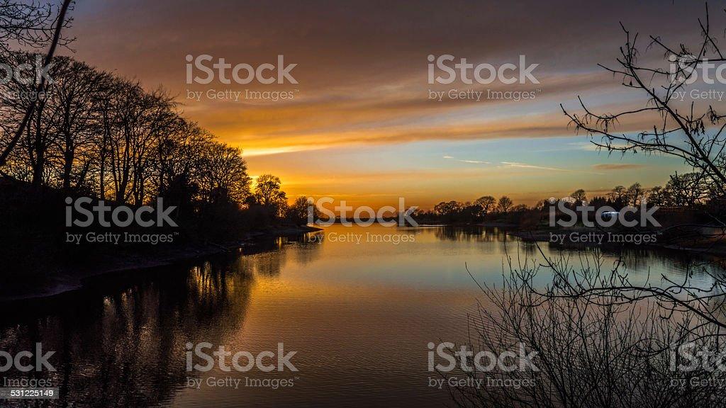 English Countryside Winter Sunset stock photo
