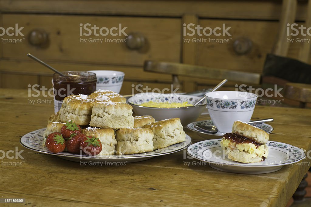 English cream tea: eye level stock photo