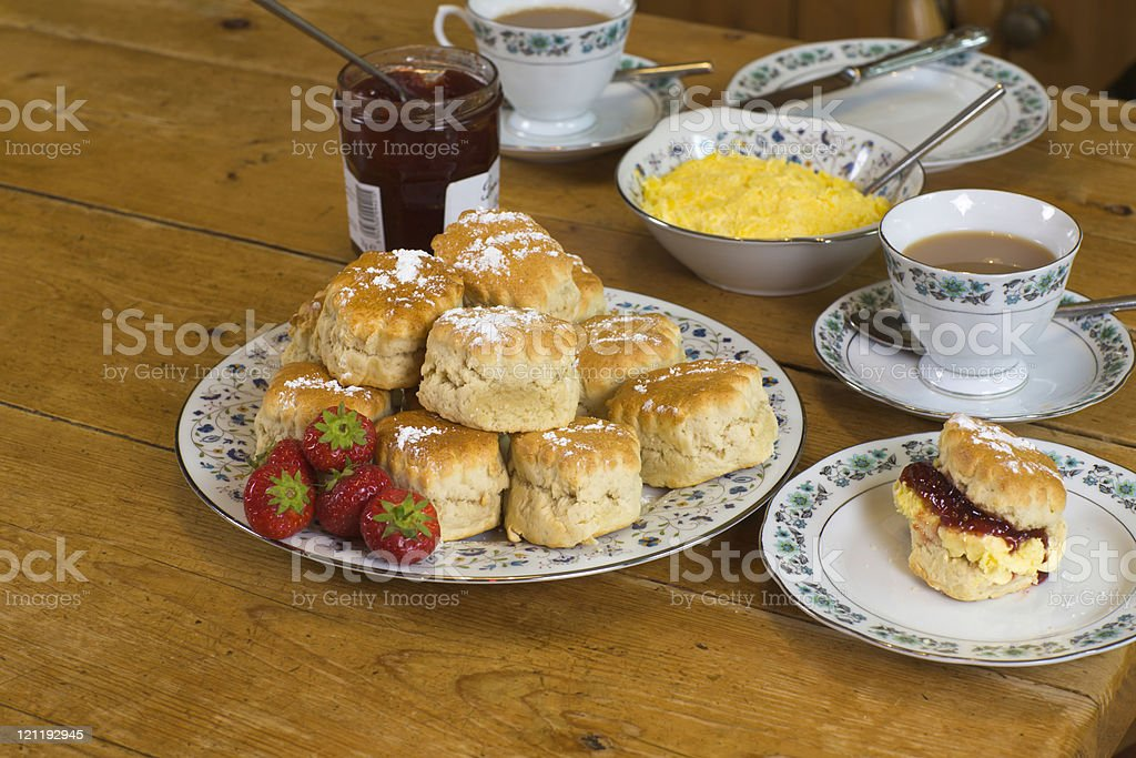 English cream tea: from above stock photo