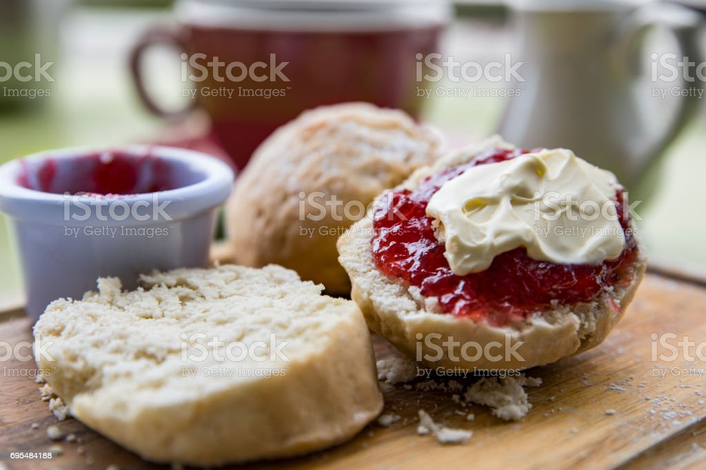 English Cream tea with scones jam and cream stock photo