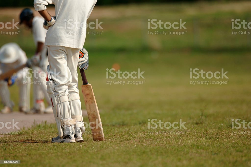 English cricket players on the field stock photo