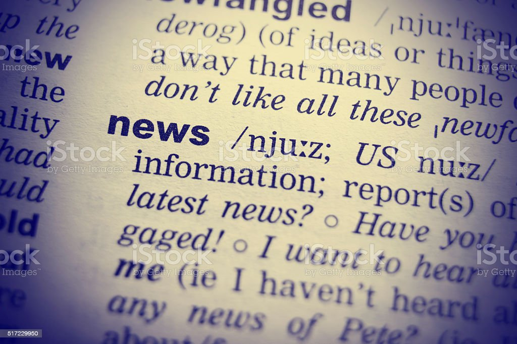 English Dictionary definition of the word News stock photo