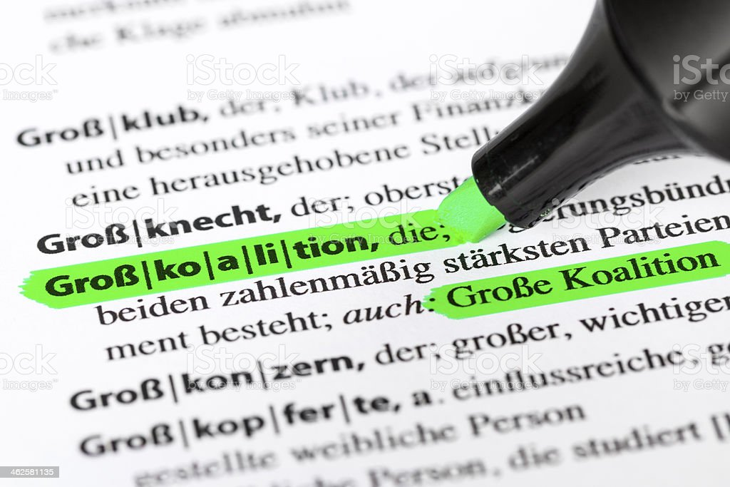 German dictionary text - Grosse Koalition royalty-free stock photo