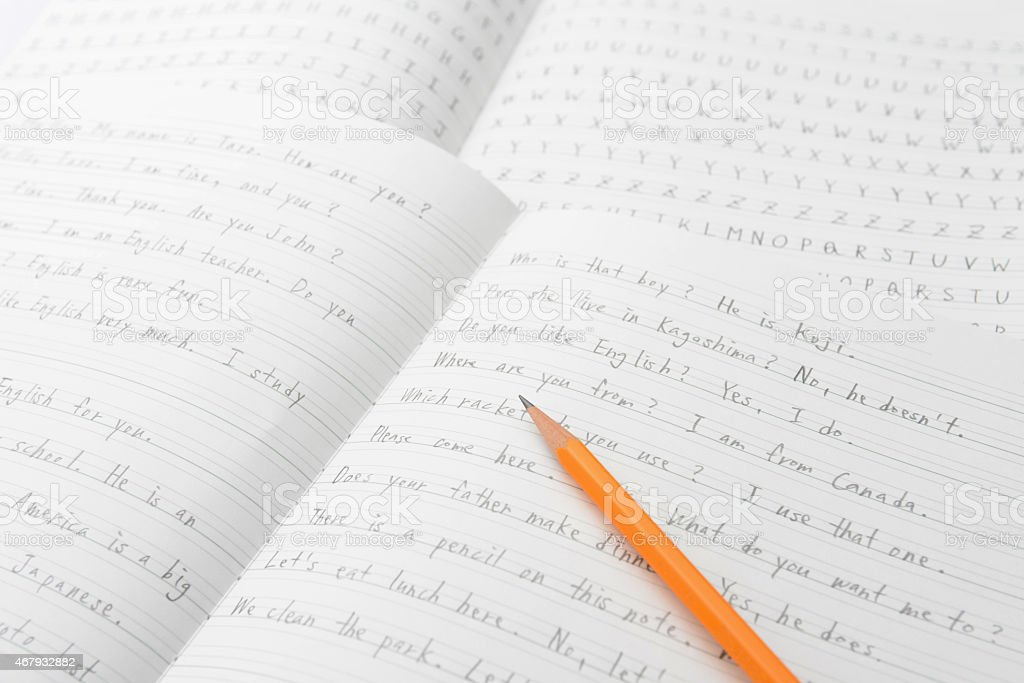 English education, pencil on notebook stock photo
