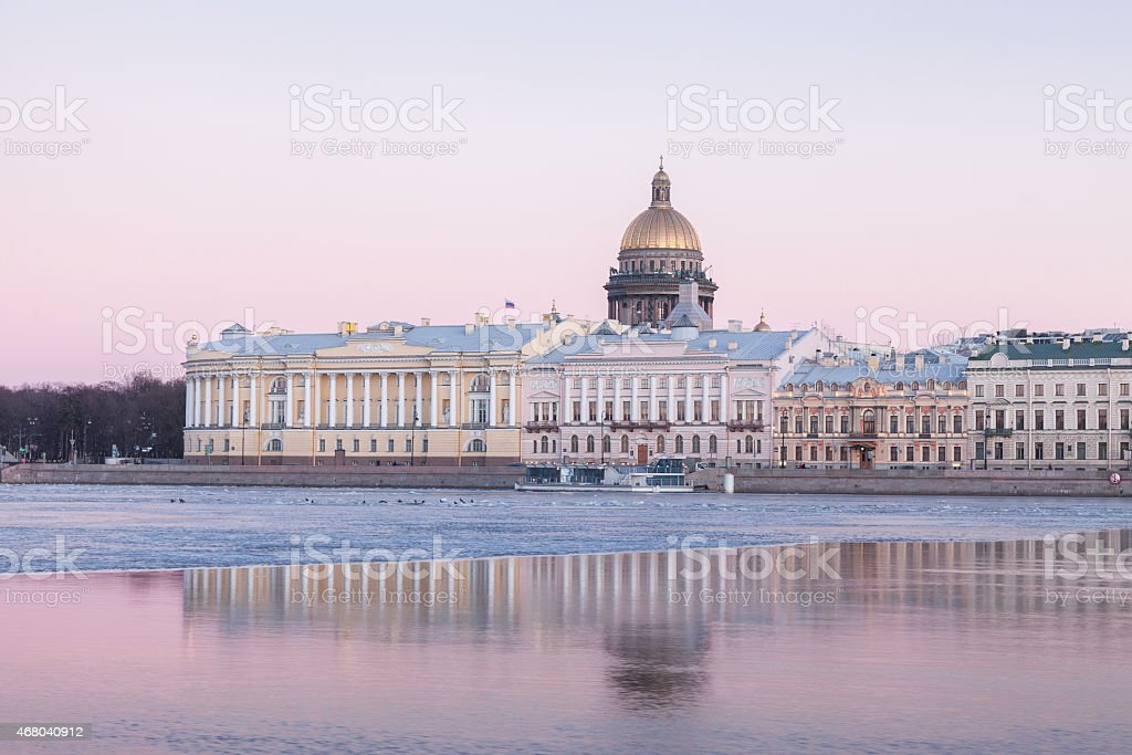 English Embankment and Saint Isaac's Cathedral, St. Petersburg stock photo
