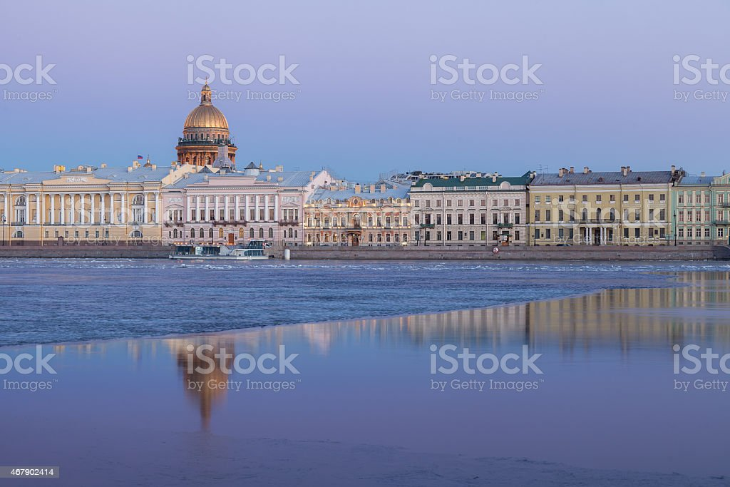 English Embankment, Neva and Saint Isaac's Cathedral, St. Petersburg stock photo