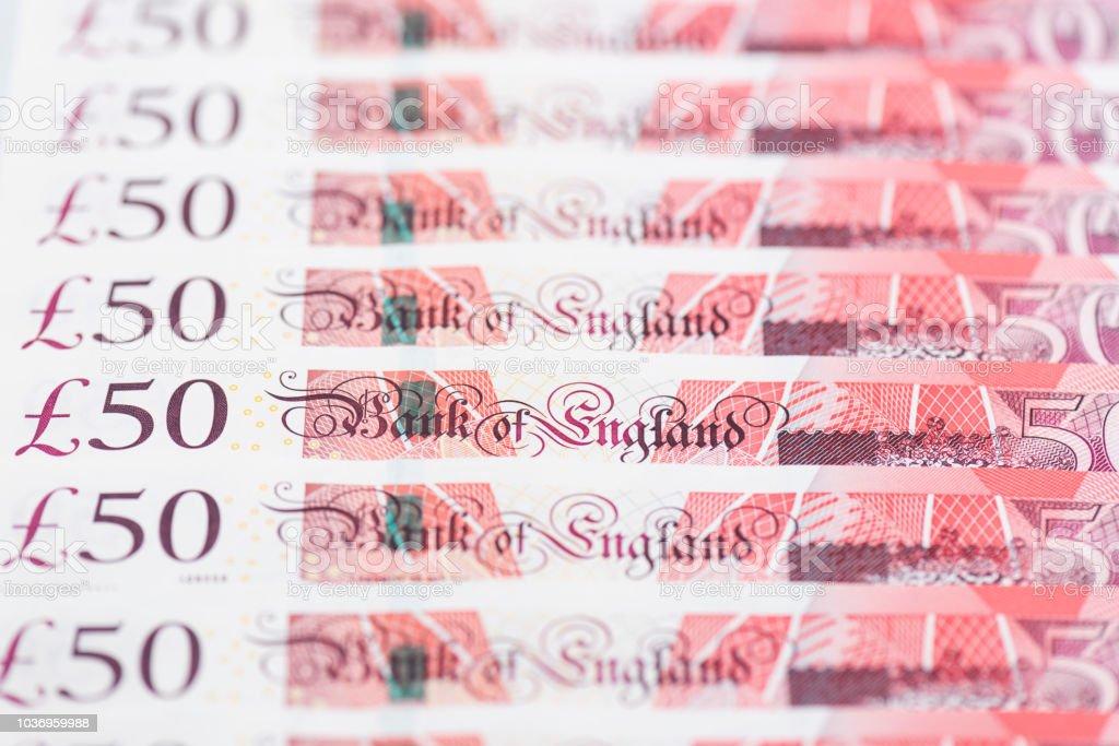 Notes de cinquante livres anglais en ligne - Photo