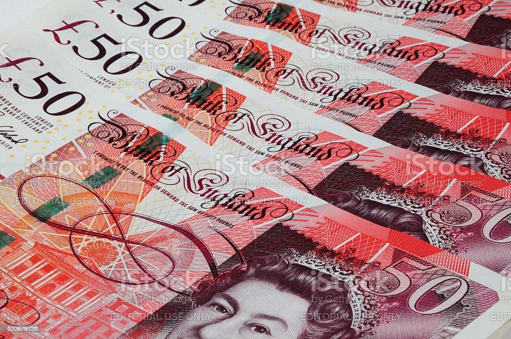 English fifty pound notes. stock photo