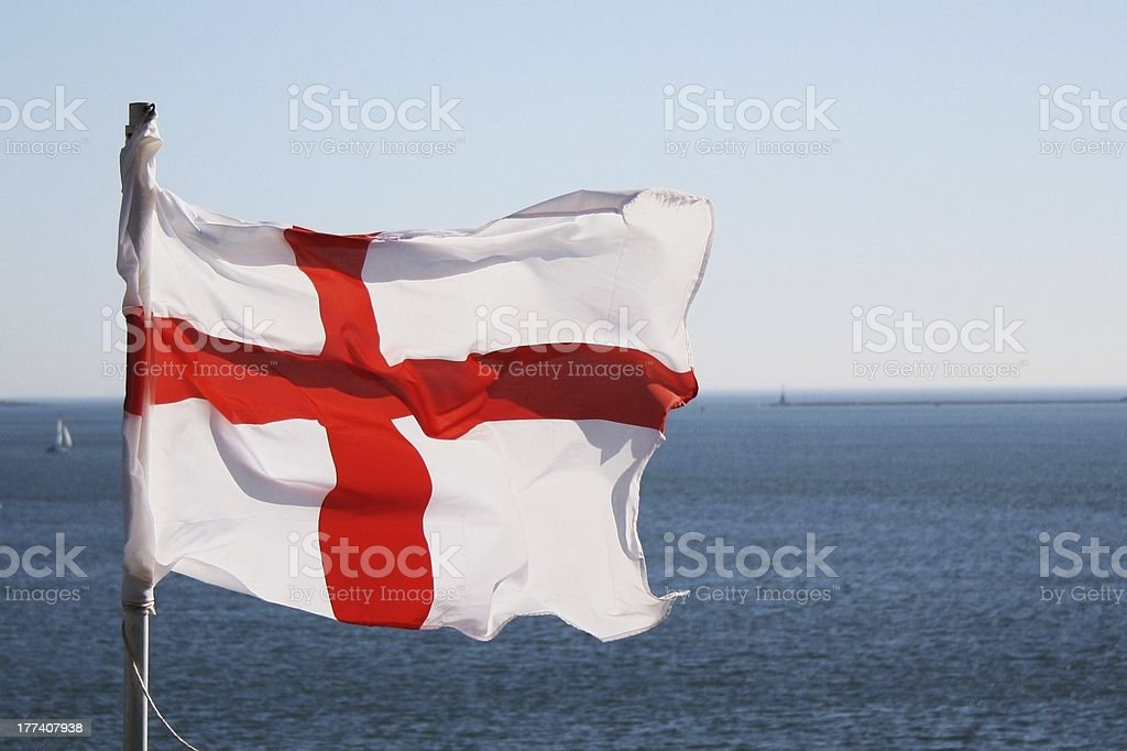 English (St Georges) Flag Flying royalty-free stock photo