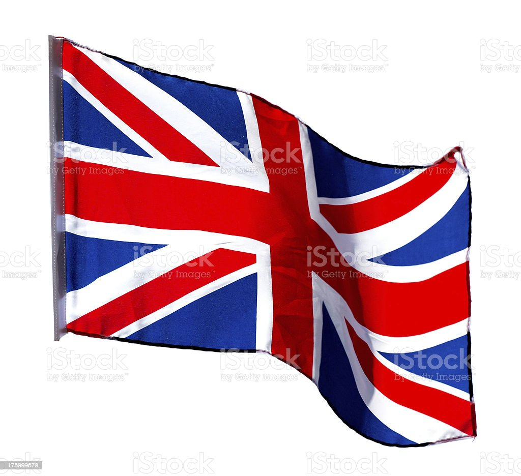 English flag in the wind on  white background royalty-free stock photo