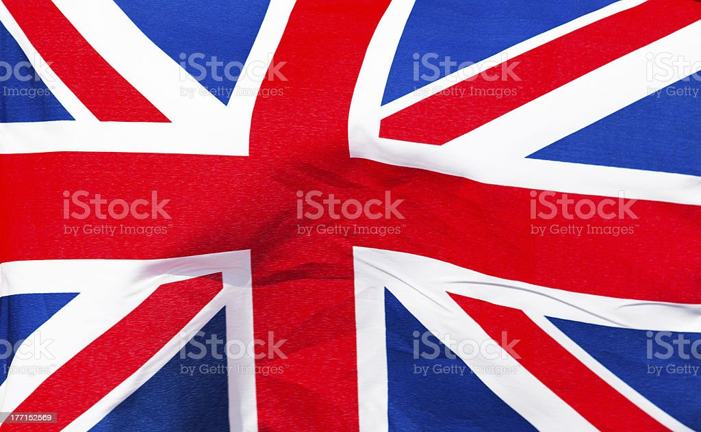 English flag in wind close up royalty-free stock photo