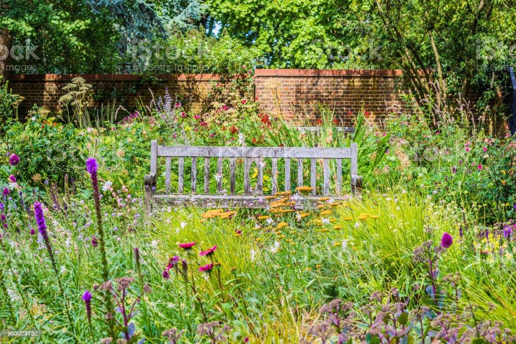 Photo Libre De Droit De Jardin Anglais Avec Fleurs Sauvages Et Banc