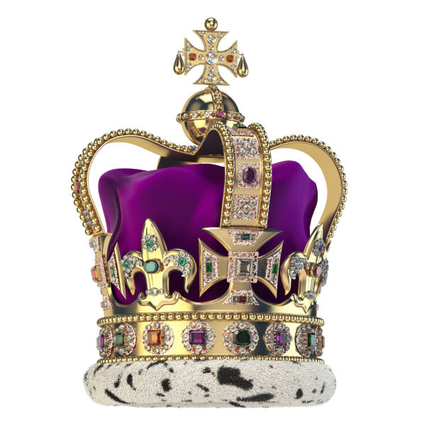 English golden crown with jewels isolated on white. Royal symbol of UK monarchy. English golden crown with jewels isolated on white. Royal symbol of UK monarchy. 3d illustration royalty stock pictures, royalty-free photos & images