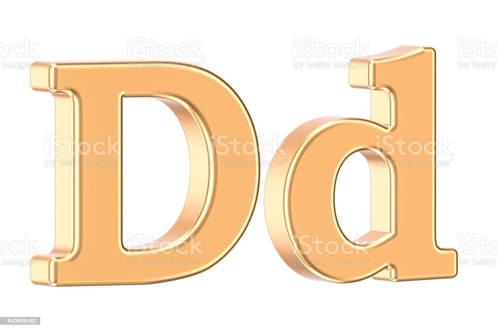 English golden letter D, 3D rendering isolated on white background stock photo