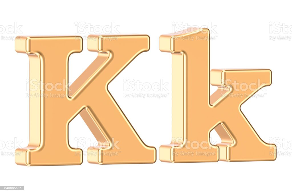 English golden letter K, 3D rendering isolated on white background English golden letter K, 3D rendering isolated on white background Alphabet Stock Photo