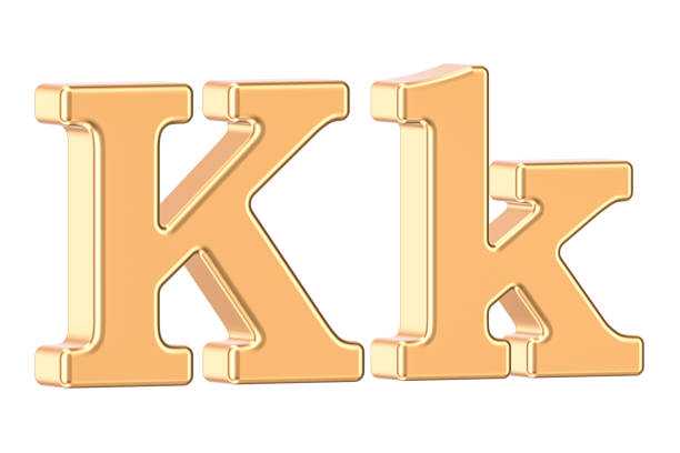 english golden letter k, 3d rendering isolated on white background - k logo zdjęcia i obrazy z banku zdjęć
