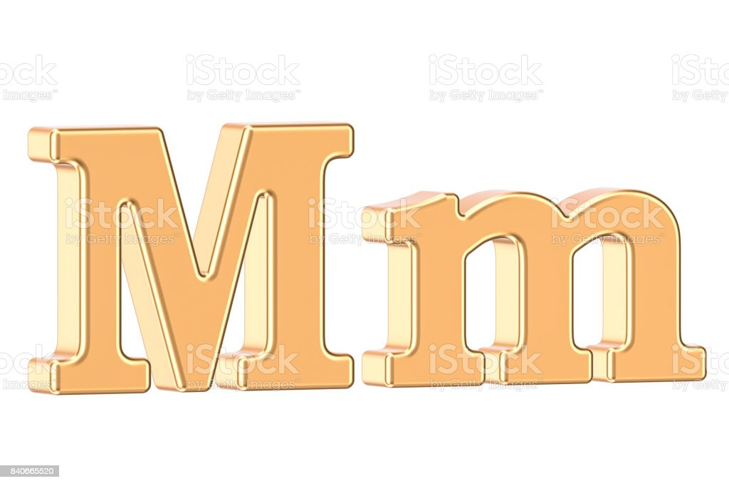 English golden letter M, 3D rendering isolated on white background stock photo