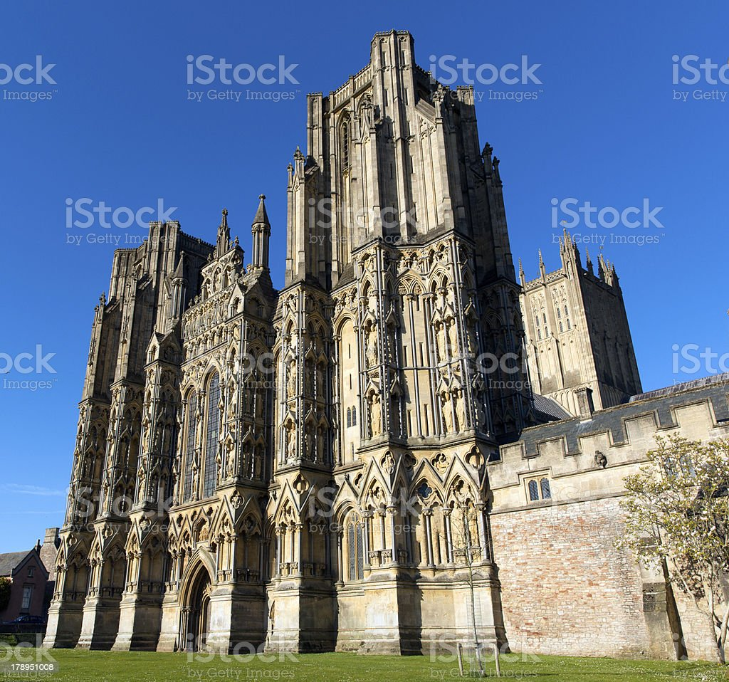 English gothic Cathedral Wells Somerset royalty-free stock photo