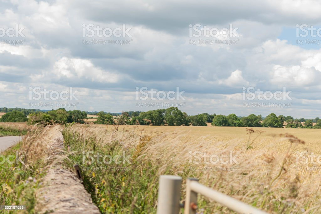 English hay field with wall stock photo