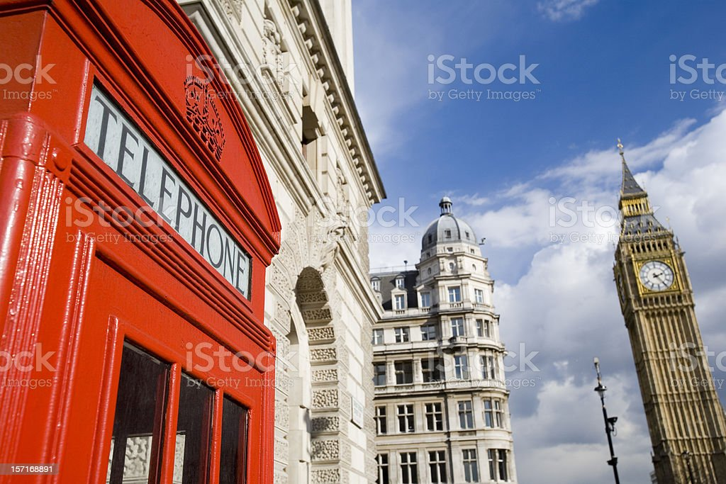 English icons: Big Ben and a traditional red telephone box royalty-free stock photo